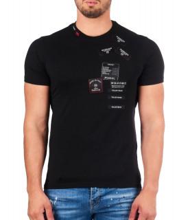 T shirt My Brand noir - WOVEN LABEL T-SHIRT
