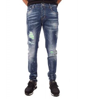 Jeans My Brand bleu - Neon Green Studded Washed Jeans
