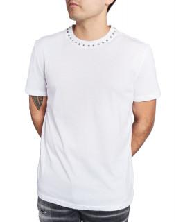 Tshirt My Brand - STUD NECK T-SHIRT blanc