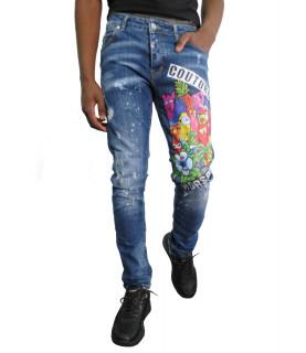 Jeans Horspist imprimé bleu - COLBY