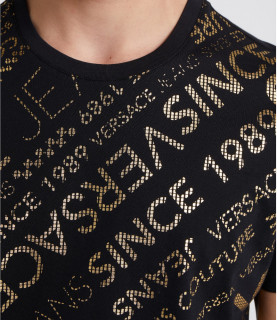 T-shirt VERSACE JEANS noir motifs dorés - réf: B3GTA74A