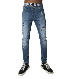 Jeans My Brand Bleu - BLUE RIPPED WHITE YELLOW SPOT JEANS