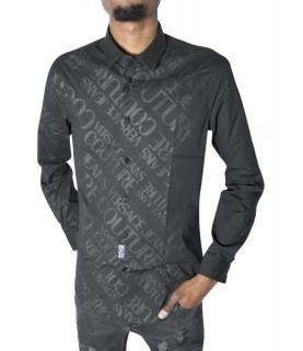 Chemise Versace Jeans Couture noire - B1GVB6S1 VUM201 SLIM LOGO PRINT
