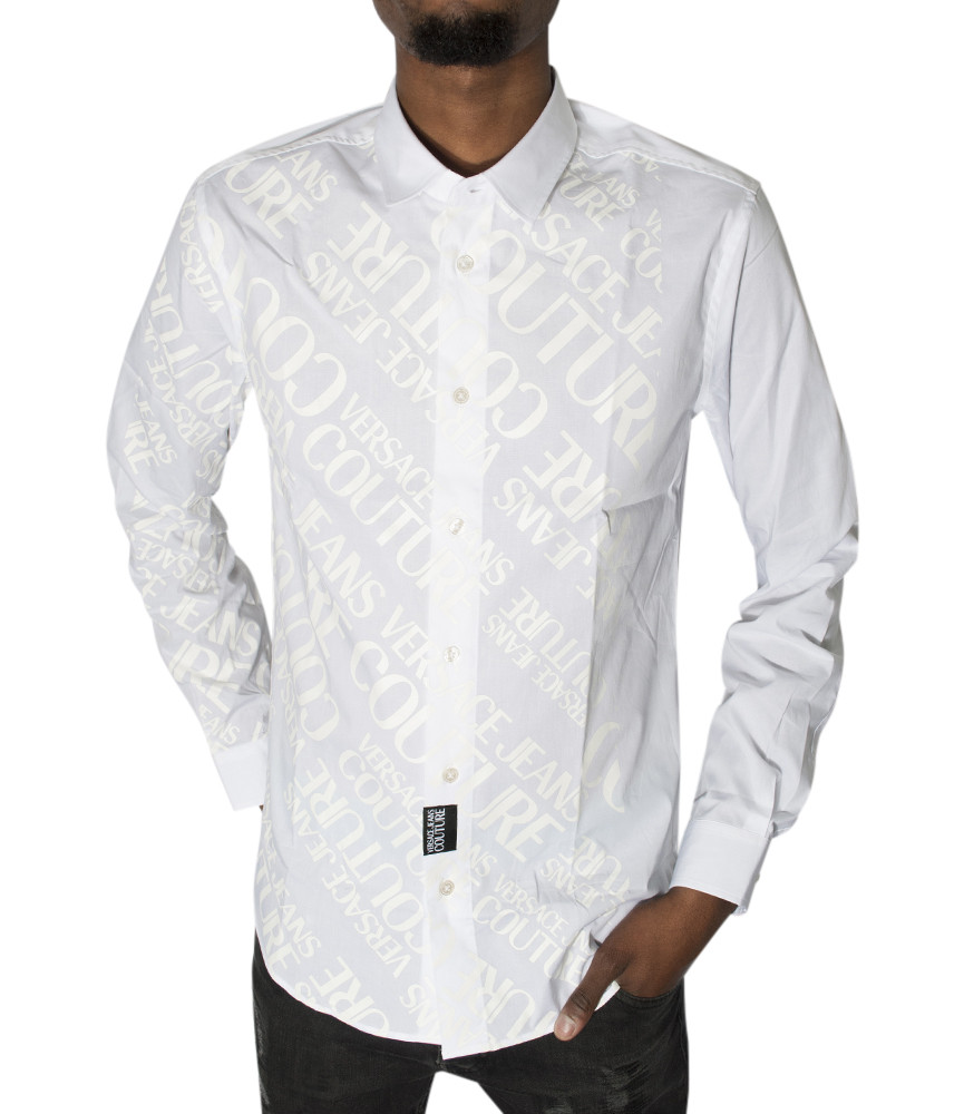 Chemise Versace Jeans Couture blanche - B1GVB6S1 VUM201 SLIM LOGO PRINT