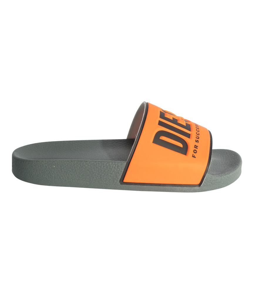 Claquettes Diesel orange fluo noir - Sa-Valla Y01920