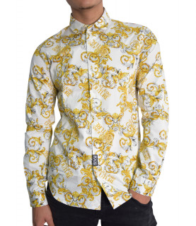 Chemise Versace Jeans Couture baroque blanc- B1GZA6S0 - ZUP201 slim PRINT ALL OVER