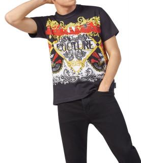 Tshirt Versace Jeans Couture noir- B3GZA7KA - ZUP601 REG BELT PAISLEY