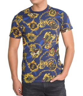 Tshirt Versace Jeans Couture bleu - B3GZB7S0 - ZUM600co slim PRINT BAROQUE