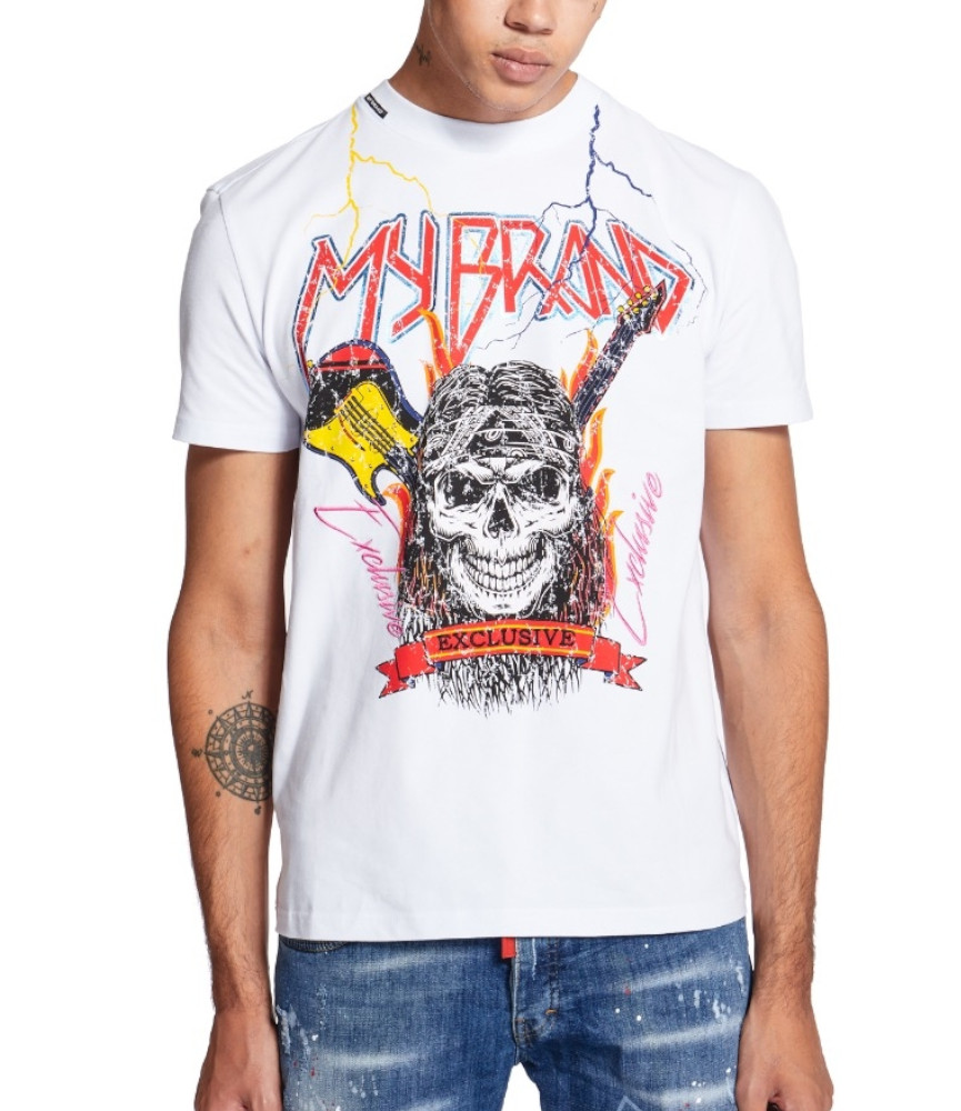 T-shirt My Brand blanc - SKULL ROCK
