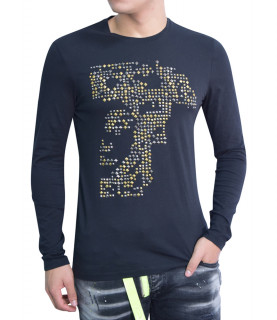 T-shirt Versace Collection noir manches longues - V800743 VJ00322