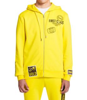 Sweat zippé My Brand jaune - VOYAGE PRIORITY ZIPPER HO