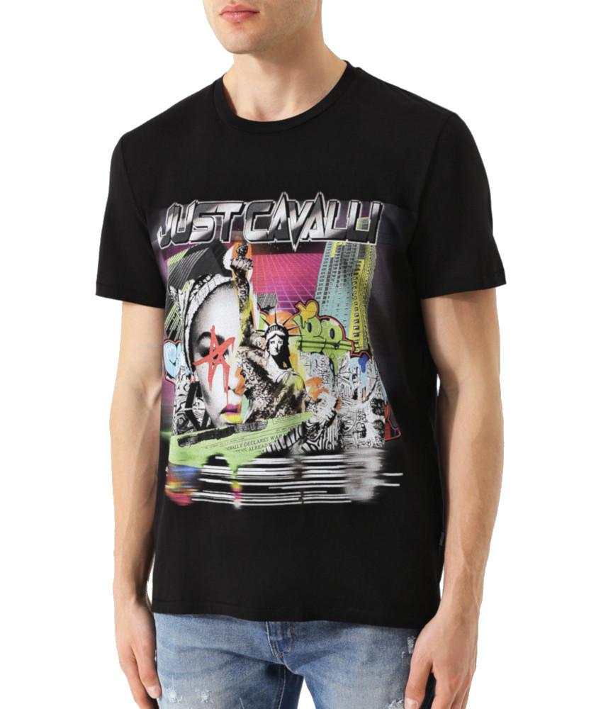 T-shirt noir just cavalli réf : S01GC0494