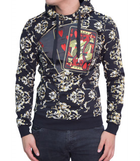 Sweat My Brand encapuchonné noir - POKERCARDS AOP HOODIE