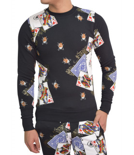 Sweat My Brand noir - POKERCARDS AOP SWEATER