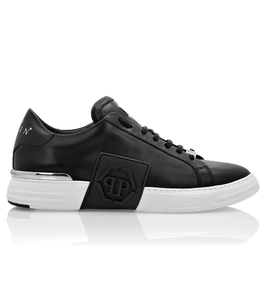 Sneakers Philipp Plein noir - PHANTOM KICK$ LO-TOP LEATHER HEXAGON