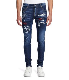 Jeans My brand bleu - DENIM BRANDING DOODLE
