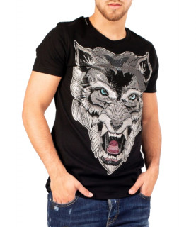 T-SHIRT NOIR SCREAMING WOLF réf : MMB-TS032-GM023