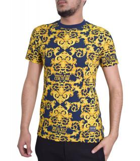 T-shirt VERSACE JEANS COUTURE bleu- B3GWA7S0 - WUP600co slim LOGO BAROQUE
