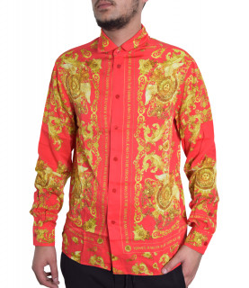 Chemise VERSACE JEANS COUTURE rouge - B1GWA6R3 - WUP200co reg PANEL BAROQUE