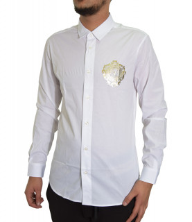 Chemise VERSACE JEANS COUTURE blanc - B1GWA6S5 - WUP201co SLIM LOGO CIRCLE FOIL