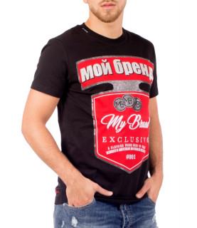 Tshirt My Brrand noir - MMB-TS010-GM003 - RUSSIA LOGO SHIELD