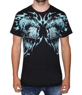 Tshirt My Brand noir - MMB-TS012-G3051 DOUBLE FLAMES SKULL