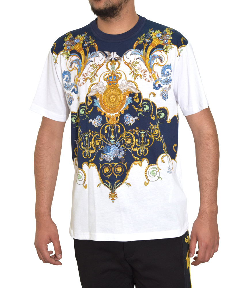 Tshirt Versace Jeans Couture blanc - B3GWA7R0 WUP601co reg PANEL YULLELREIS