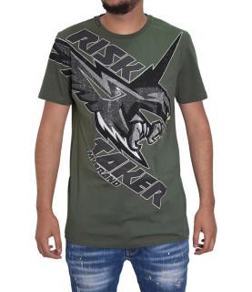 T-shirt MY BRAND kaki - MMB-TS012-GM029 RISK TAKER EAGLE
