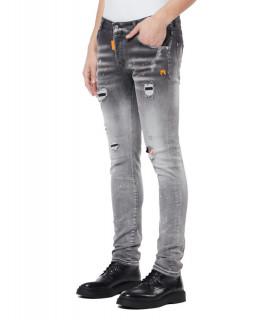 Jeans My Brand gris - DENIM GREY NEON ORANGE SPOTTED