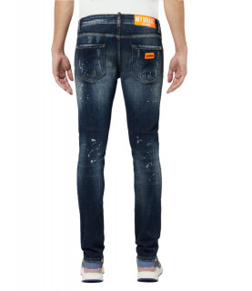 Jeans My Brand bleu DARK NEON ORANGE DISTRESSED JEANS
