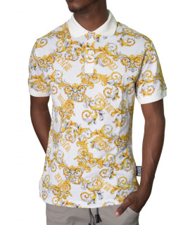 Polo VERSACE JEANS COUTURE blanc - B3GZA721 - POLOZUP621 slim PRIN NEW LOGO