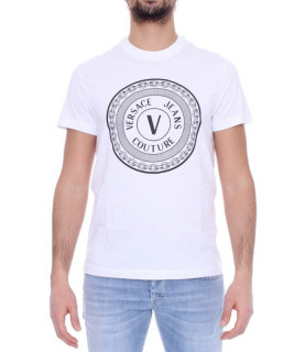 Tshirt Versace Jeans Couture blanc - B3GWA7TD - WUP600 SLIM ROUND BIG RUBBER