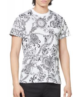 Tshirt Versace Jeans Couture blanc - 71GAH6S0 - 71UP600 SLIM PRINT BIJOUX BA