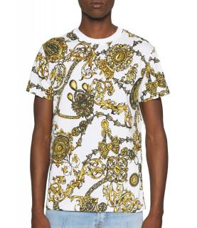 Tshirt Versace Jeans Couture blanc or - 71GAH6S0 - 71UP600 SLIM PRINT BIJOUX BA