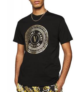 Tshirt Versace Jeans Couture noir - 71GAHT12 - 71UP600 S VEMBLEM FOIL