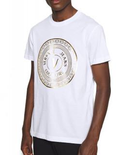 Tshirt Versace Jeans Couture blanc - 71GAHT12 - 71UP600 S VEMBLEM FOIL