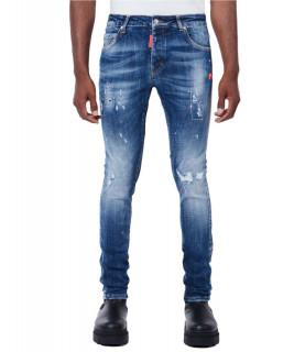 Jeans My Brand bleu - NEON PINK SPOTS DENIM JEANS