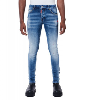 Jeans My Brand bleu - NEON RED SPOTS DENIM JEANS