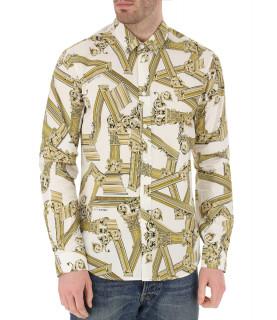 Chemise Versace Jeans blanc/jaune - B1GTBS6S0