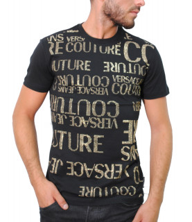 Tshirt Versace Jeans Couture noir strass dorée - B3GUA7GA