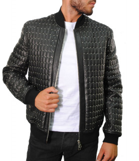 Veste en cuir Versace Collection noir - V400260 VP00072