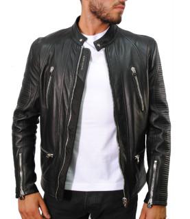 Blouson Philipp Plein cuir noir - SS16 HM210274