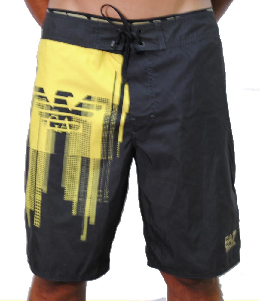 Short de bain long Armani noir/jaune - 902003 5A723